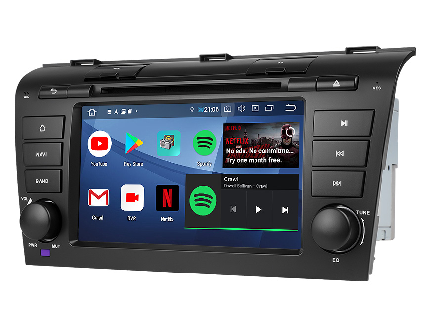 Eonon Mazda 3 2004-2009 Android 9.0 Pie Double Din Car Stereo with 2G RAM 32G ROM 7 Inch Touchscreen Car DVD Player Compatible With Bose System Support Bluetooth 5.0 4G Wi-Fi Steering Wheel Control