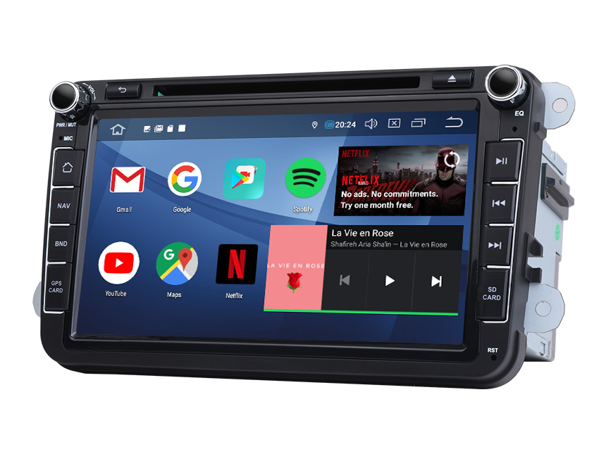 Volkswagen/SEAT/SKODA Android 9.0 Pie 2G RAM, Quad-Core & 32G ROM Bluetooth 5.0 Double Din  Car Stereo GPS Navigation 8 Inch HD Touchscreen Compatible with Fender System Support 4G Dongle WiFi Steering Wheel Control In Dash Car Head Unit
