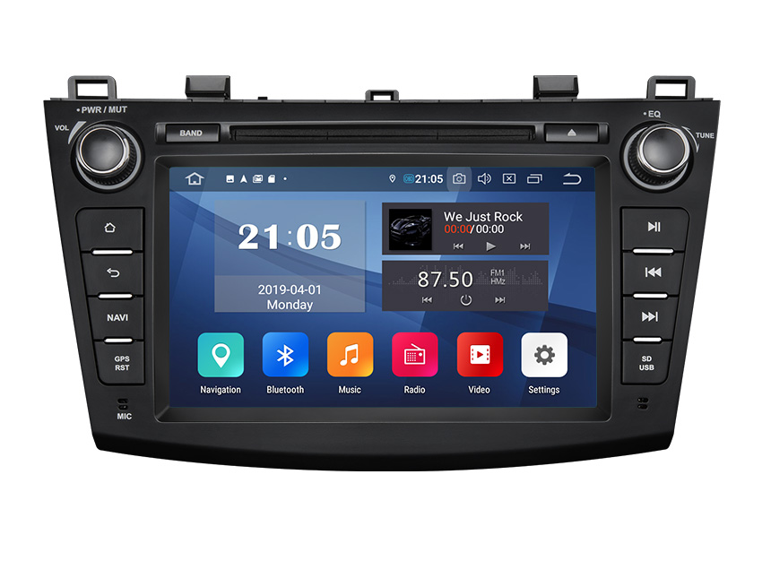 Eonon Mazda 3 2010-2013 Android 9.0 Pie Double Din Car Stereo with 2G RAM 32G ROM 8 Inch HD Touchscreen In Dash Car Head Unit Compatible with Bose System Support Bluetooth 5.0 4G Wi-Fi Steering Wheel Control DVD Player