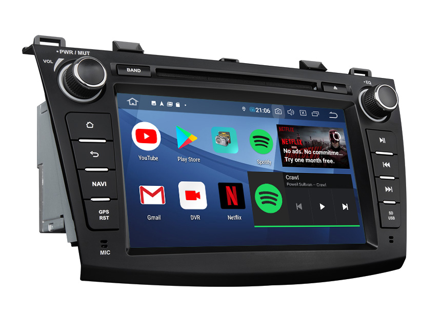 Mazda 3 2010-2013 Android 9.0 Pie Quad-Core 2G RAM 32G ROM 8 Inch HD Touchscreen Double Din Car In-dash GPS Navigation Compatible with Bose System 4G Dongle WiFi DVD Player Steering Wheel Control Bluetooth Connection