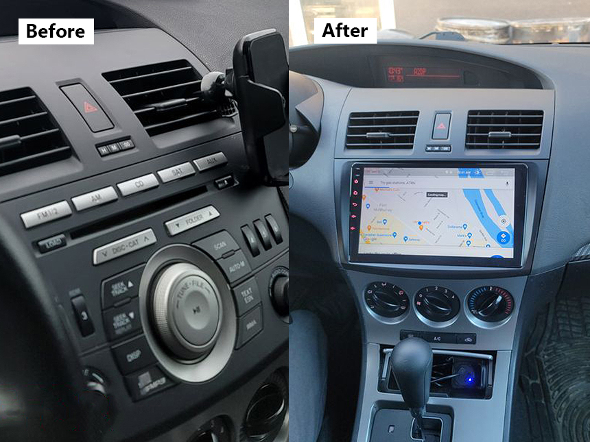 Eonon Mazda 3 2010-2013 Android 10 Car Stereo 9 Inch IPS HD Full Touchscreen Head Unit Built-in CarPlay and DSP Car GPS Navigation Radio